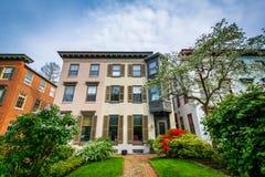 Résidences en colline de Bolton, Baltimore, le Maryland Images libres de droits