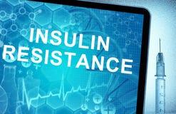 Résistance à l'insuline de mots sur un comprimé Image stock