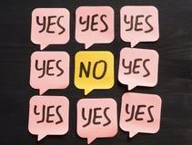 Résistance au concept de changement Note avec des mots oui et non image stock
