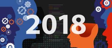 résolution de la nouvelle année 2018 et technologie de pensée d'industrie de tête de cible future Image stock