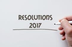 Résolutions 2017 écrites sur le tableau blanc Photographie stock libre de droits