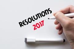 Résolutions 2017 écrites sur le tableau blanc Images libres de droits