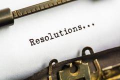 Résolutions concernant la machine à écrire photos stock