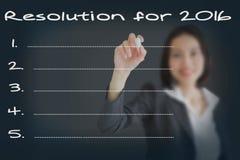 Résolutions de femme d'affaires pour 2016/nouvelle année de buts Li Photographie stock libre de droits