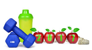Résolutions saines pendant la nouvelle année 2017 Images stock