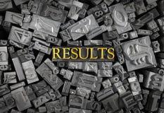 Résultats définis dans des lettres en métal Photo libre de droits