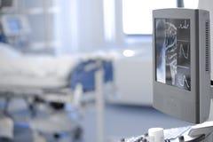 Résultats d'essai médicaux représentés sur le moniteur d'ordinateur dans le tapotement images stock