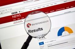 Résultats de Brexit sur le site de BBC Image libre de droits