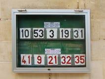 Résultats de loto à Malte Images libres de droits