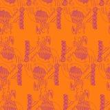 Résumé, boho, modèle sans couture d'ethno, contour violet, orange Illustration Stock