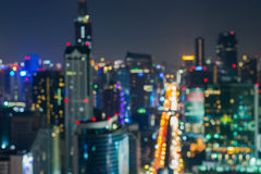 Résumé, bokeh de tache floue de lumière de paysage urbain de nuit Photo libre de droits