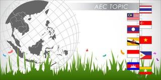 Résumé de la communauté économique d'ASEAN, l'AEC Photo stock