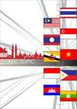Résumé de la communauté économique d'ASEAN, l'AEC Photos libres de droits