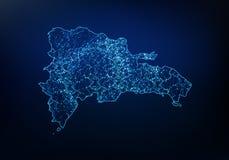 Résumé de réseau de carte de la République Dominicaine, d'Internet et de concept global de connexion, ligne polygonale de réseau  illustration libre de droits