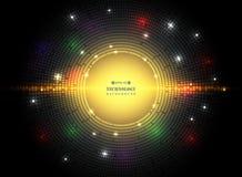 Résumé de technologie carrée de modèle de cercle foncé dans futuriste illustration de vecteur