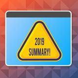 Résumé des textes 2019 d'écriture La signification de concept récapitulant des actions principales d'événements passés d'année ou illustration libre de droits