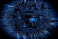 Résumé, fin aux circuits électroniques, nous voyons la technologie du mainboard, qui est le fond important du comput photographie stock libre de droits
