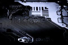 Résumé, fin des circuits électroniques en technologie sur le fond d'ordinateur de Mainboard photographie stock libre de droits