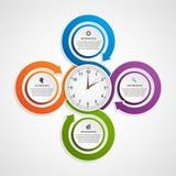 Résumé infographic avec les flèches et l'horloge colorées au centre Descripteur de conception Image libre de droits