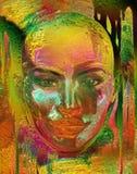 Résumé métallique du visage de la femme Images libres de droits