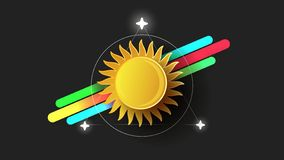 Résumé Sun Logo On Black Background Vector illustration de vecteur