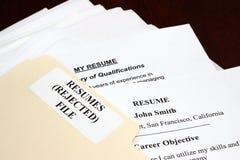 Résumés rejetés Image stock
