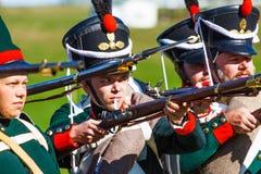 Rétablissement de la bataille de Borodino entre le Russe Images libres de droits