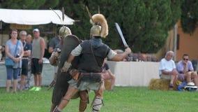 Rétablissement historique romain antique de bataille banque de vidéos