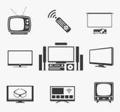 Rétro écran plat de TV, home cinéma et icônes futées Photographie stock libre de droits
