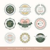 Rétro élément moderne de conception d'insigne de cadre de logo de mariage illustration de vecteur