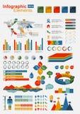 Rétro éléments d'Infographics avec la carte du monde Photographie stock
