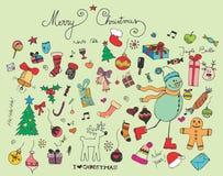 Rétro éléments de Noël Images stock