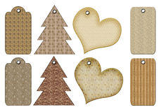 Rétro étiquettes de cadeau de différentes formes. Images stock