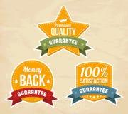 Rétro étiquettes de garantie Photos stock