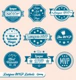 Rétro étiquettes et collants de MVP de ligue Images libres de droits