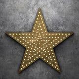Rétro étoile avec les ampoules sur le fond concret Photos libres de droits