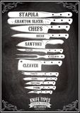 Rétro affiche avec l'ensemble de différents types de couteaux Photo libre de droits
