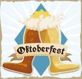 Rétro affiche avec la double botte de bière grillant dans la célébration d'Oktoberfest, illustration de vecteur illustration de vecteur