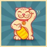 Rétro affiche avec le chat chanceux Photographie stock libre de droits