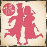 Rétro affiche avec un couple d'habillage formel pour le jour de baiser, illustration de vecteur Photos stock