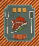 Rétro affiche de barbecue illustration stock