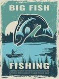 Rétro affiche de club de pêcheur avec l'illustration de grands poissons illustration libre de droits