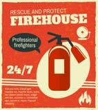 Rétro affiche de lutte contre l'incendie illustration libre de droits