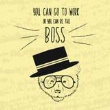 Rétro affiche de motivation de main-dessin pour l'accomplissement des objectifs avec les expressions sages au sujet du patron et  illustration de vecteur