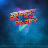 Rétro affiche 1980 de néon de partie Rétro fond de la disco 80s avec le TR Images libres de droits
