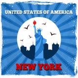 Rétro affiche de New York Etats-Unis illustration libre de droits