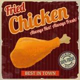 Rétro affiche de poulet frit illustration stock