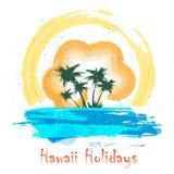 Rétro affiche de vacances d'Hawaï Photos stock