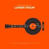 Rétro affiche de vintage de guitare, conception plate de fond abstrait Image libre de droits