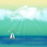Rétro affiche de voyage d'été de yacht de mer Photos stock